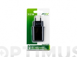 CARGADOR/TRANSFORMADOR USB 2,1A