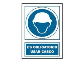 SEÑAL USO CASCO OBLIGATORIO PVC