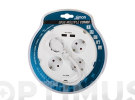 BASE MULTIPLE CON CABLE REDONDA